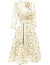 Vestido Princesa con Encaje Floral con Cuello En V Y Fiesta Vintage con Cuello En V Y Vestido