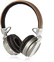 ZAKK Hunter Wireless and Wired Bluetooth Over Ear Headphones Brown/Silver, Microphone, Hands Free, Supports FM