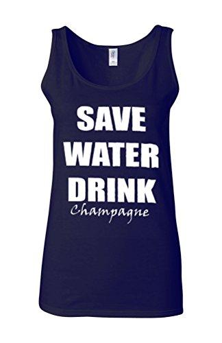 Save Water Drink Champagne Novelty White Femme Women Tricot de Corps Tank Top Vest Bleu Foncé