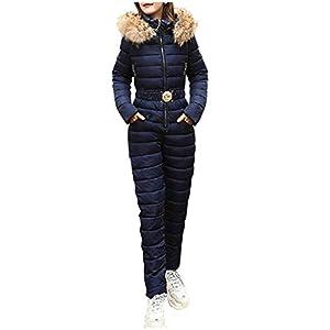 Sllowwa Damen Skianzug Winter Warm Schneeanzug Snowboard Overall Schneeanzug Außen Sports Hose Ski Anzug Overall Ausziehen Einfach M-2XL