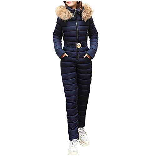 TEBAISE Skianzüge Damen Winter Skianzug Warm Schneeanzug Schneeoverall Frauen Außen Sports Hose Taschen Hoodie Ski Anzug Wasserfest Wasserdicht Ski Overall Outdoor Reißverschluss Skibekleidung