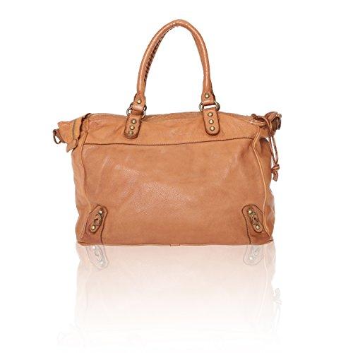 Chicca Borse Linea Vintage - Borsa a Mano Handbag da Donna con Tracolla in Vera Pelle Made in Italy - 35x31x19 Cm Cuoio Tan