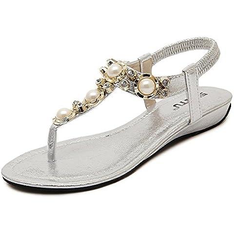 Auspicious beginning moda estate sandali Pearl perlina Elastico T-Cinghias carpe piane delle cinghie