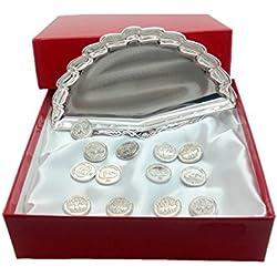 ARRAS DE LA VIDA en color Plata brillante, bandeja de abanico en presentación de regalo, para todas las Bodas y Enlaces.