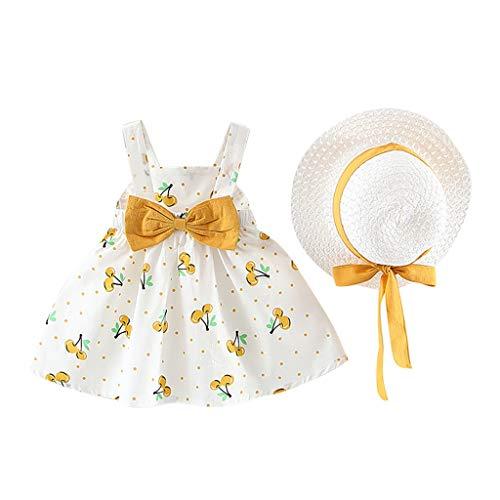 Sannysis Vestido Bebe niña Verano Elegante Cerezas Lunares Vestido Tutu Vestido Plisada Volante sin Manga Vestidos Floral Casual Falda de Boda cumpleaños, con Sombrero de Princesa Gratis, 0-3 años
