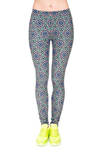 Kukubird Printed Patterns Women's Yoga Leggings Gym Fitness Running Pilates Tights Skinny Pants Size 6-10 Stretchable-Arabesque Arabesque Tee