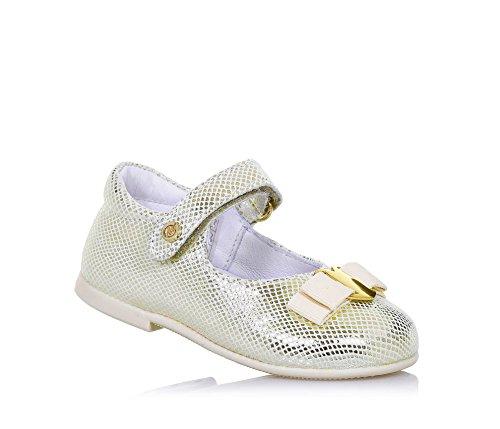 NATURINO - Ballerina platino in pelle, ideale per il primo passo e per il gattonamento, chiusura a strappo laterale, Bambina, Ragazza-25