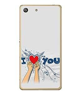 PrintVisa Designer Back Case Cover for Sony Xperia M5 Dual :: Sony Xperia M5 E5633 E5643 E5663 (I Love You In Grey Design)