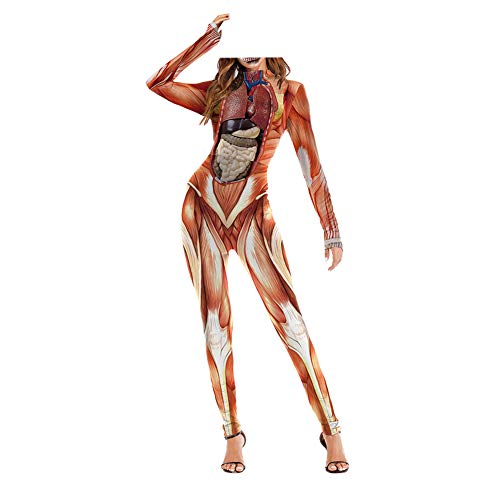 Haodasi Damen Erwachsene Halloween 3D Druck Cosplay Bodysuit - Skelett Schädel Knochen Kostüm Party Spielen Kleidung Strumpfhose Einteilig Catsuit Jumpsuit Overall