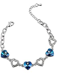Color Jewels Armband mit 'Herz des Ozeans' Swarovski-Kristallen - Länge 17-23 cm LINK