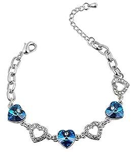Swarovski Elements - Bracelet Coeur de l'Océan en cristal - plaqué or 18 carats - 18-23CM
