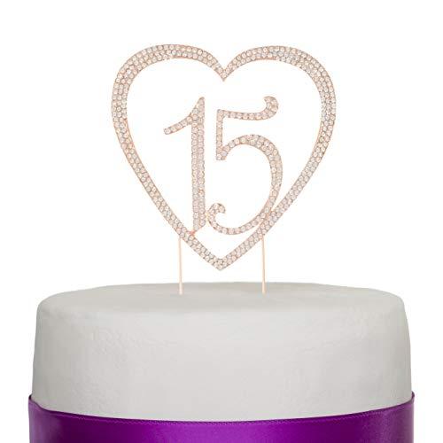 15Tortenaufsatz Strass Metall Dekoration zum 15. Geburtstag rose gold ()