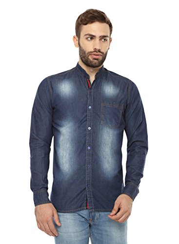 Mens Vintage Faded Denim Long Sleeve Blue Shirt (Size-42) By Fx Clothing
