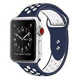 YOUKESI Compatible Apple Watch Armband 42mm, Soft Silikon Ersatz Uhrenarmbänder für iWatch Serie 3 Serie 2 Serie 1 Sport (42mm Blau Weiss)