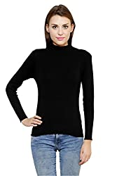 Renka Womens Cotton Sweater(skivvy_tn_black_L_Black_Large)