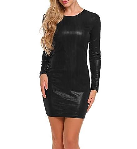 Keland Damen Cocktailkleid festliches Kleid in hochglänzender Optik metallic schwarz