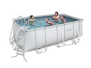 bestway 56241 frame pool stahlrahmenbecken set 412 x 201 x 122 cm rechteckig mit filterpumpe mit. Black Bedroom Furniture Sets. Home Design Ideas