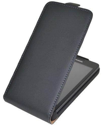 Premium Flip-Style Tasche für Huawei Ascend G750 / Handytasche Etui Hülle Schutzhülle (Spezielle Anfertigung) in schwarz