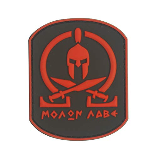 Cobra Tactical Solutions Military PVC Patch Molon Labe Rot mit Klettverschluss für Airsoft/Paintball für Taktische Kleidung/Rucksack -
