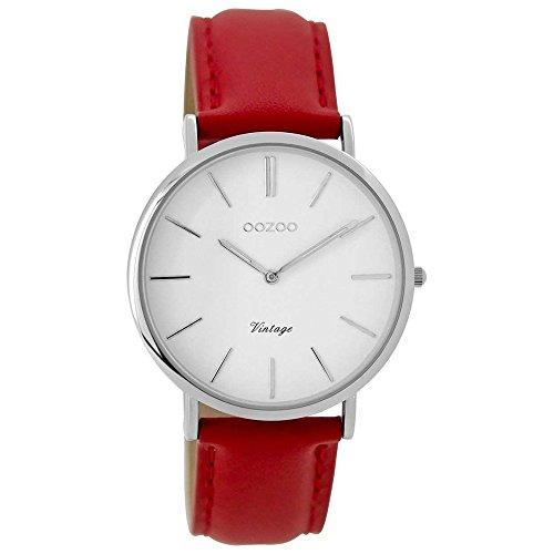 Oozoo Vintage Mujer Reloj Correa de Piel 36mm Blanco/Rojo c9308