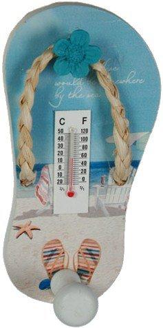 Thermomètre mural en bois décor Plage - Mer