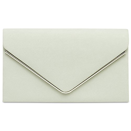 CASPAR TA356 Damen elegante Textil Velours Envelope Clutch Tasche / Abendtasche mit langer Kette hell beige