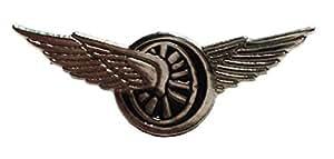 Broche en métal émaillé Motif course de moto ailée avec ailes) (roue