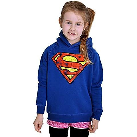 Superman - sudadera infantil con el escudo - con capucha, con el logotipo clásico del superhéroe de DC Comics, con la licencia oficial, azul
