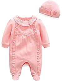 2b82547e47300 Longra Combinaison Bébé Fille Body Bébé Grenouillères Bébé Manches Longues  Dentelle T-Shirts Bébé Haut