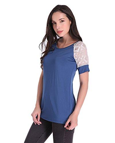 Auxo Damen Kurzarm Spitze Splice Sommer Stretch Slim Oversize T-Shirt Langshirt Tops Blau