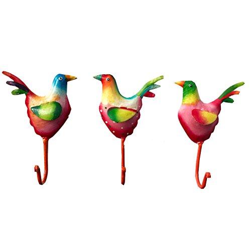 Exner Set 3 Ganchos Pared pájaro Hecho Metal Pintado