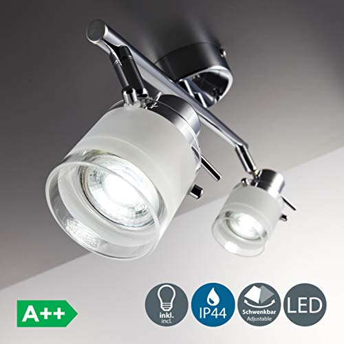 Focos de techo para baño LED IP44 incl. 2x5W bombillas GU10, Giratorio...