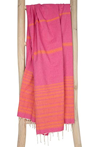 Fouta de Plage xl BIARRITZ 100x190 cm Rose Orange - Drap de Hammam Serviette de Plage Femme 100% Coton très Souple - Foutas Design Unique de ZusenZomer