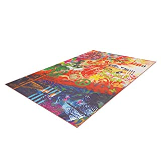 ArteEspina ARTE ESPINA Teppich Bild Hippi Peace Muster Design TEPPICHE BUNT ROT BLAU GRÜN, Größe:120cm x 170cm