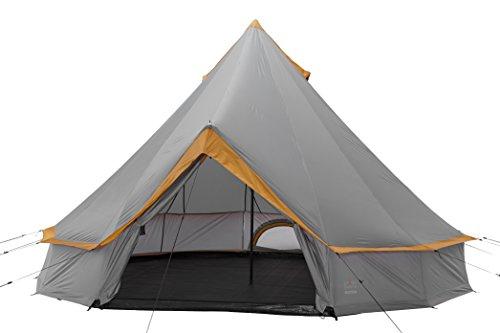 Grand Canyon Indiana - Rund-/ Pyramidenzelt, Tipi, 8 Personen, für Gruppen, Camping, Outdoor, Glamping, grau/orange, Ø 400 cm, 302022 - Und Zelte Camping-ausrüstung