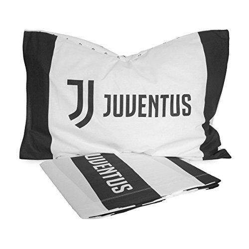 confronta il prezzo Juventus 6808 490 S001 Parure Copripiumino, 100% Cotone, Bianco/Nero, Singolo, 50x40x2.5 cm,