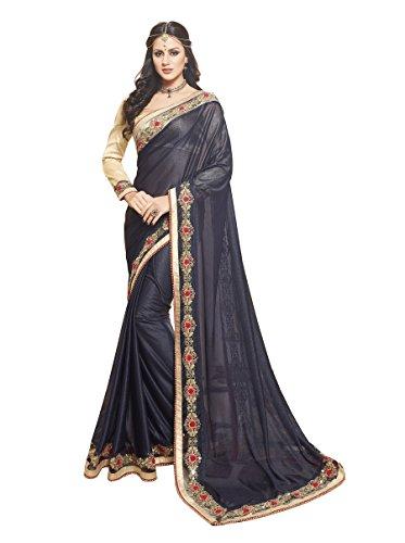 Palav Women's Net Sarees Party Wear/Fancy Net Sarees/Embroidered Net Sarees - Midnight Blue