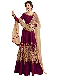 Ethnic Empire Women's Banglory Silk Semi-Stitched Anarkali Salwar Suit Piece (Ethnic_FlexER10621_Magenta_Free...