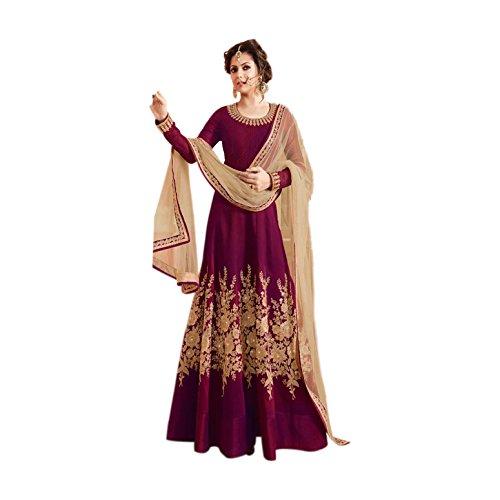 Generic Aryan Fashion Women's Silk Semi Stiched Anarkali Dress (Magenta)