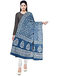 NEEL BATIK - THE BLOCK PRINTS Women's Malmal Cotton Stole (Blue) - B078M2GVDM