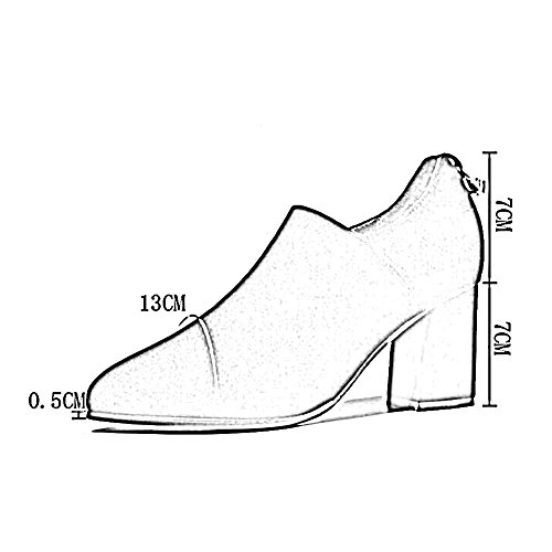 PENGFEI Stivaletti scarpa Tacchi Da Sposa Primavera E Autunno Appuntito Traspirante Vestito Formale Da Donna 2 Colori ( Colore : Rosso , dimensioni : EU37/UK5/L:235mm ) Nero