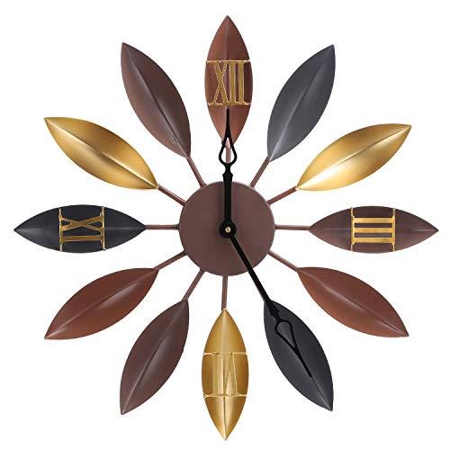 KJRJGZ Blattmetallwanduhr, römische Ziffern, dekorative Uhr für Wohnzimmer, Schlafzimmer, Büroräume - Farbtöne Schwarze Römische
