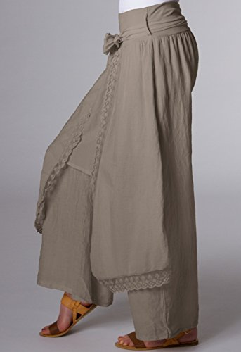 CASPAR KHS001 Pantalon Palazzo pour femme Kaki