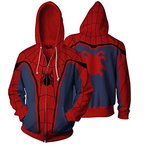 Imzoeyff 3D Neuheit Gedruckt Hoodie Mit Kapuze Pullover Strickjacke Jumper Super Hero Spider Man Serie Mit Kapuze Pullover Mode ()