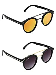 Creature Purple & Yellow Round Sunglasses Combo with UV Protection (Lens-Yellow & Purple||Frame-Black||EC-002-005)