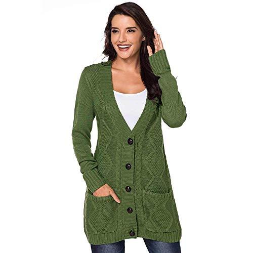 KAIDILA Grün-Fronttasche und Tasten Schließung Strickjacke Herbst und Winter V-Ausschnitt einreihig Lange Ärmel mit Stricken Tasche MIDI-Cardigan