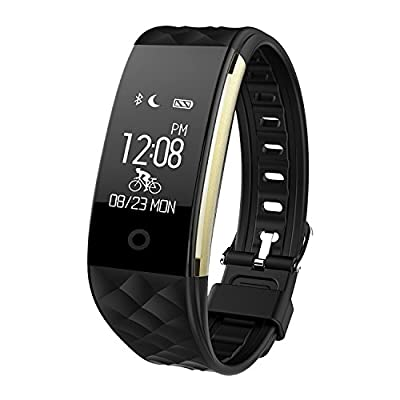 Toprime Fitness Tracker,App-Enable Waterproof Bluetooth 4.0 OLED Touch Screen Smart Wristband,Heart Rate and Sleep Monitor for Android and IOS, Black from Toprime