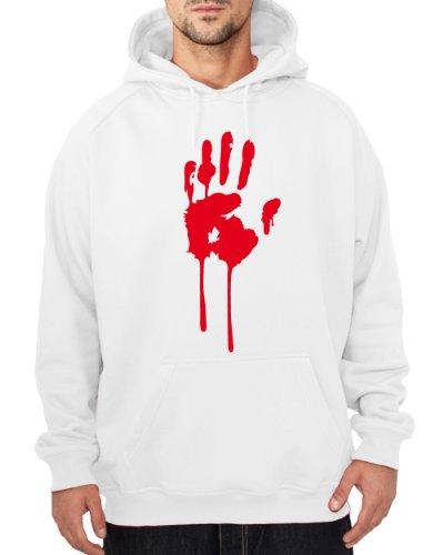 ::: BLUTHAND ::: Hoodie ::: Herren, Weiß mit rotem Aufdruck, Gr. (Herren Zahnfee Kostüm)