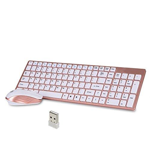 Kabellose Tastatur und Maus,KINGCOO tragbar 2.4GHZ Ultra Slim Full-Size-Ruhe Wireless Tastatur und DPI Einstellbare Stille Maus Combo für Desktop Windows/Android (Rosé Gold)
