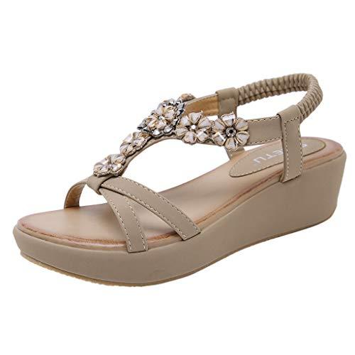 Jeweled Damen Jeans (iLPM5 Damen Sommer Casual Böhmischen Stil Blume Kristall Keilabsatz Schuhe Große Größe Gummiband Strand Römersandalen Schuhe)